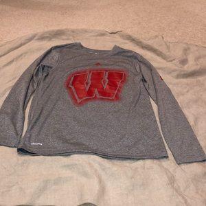Adidas Wisconsin boys long sleeve shirt